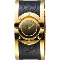 GUCCI 古馳 Twirl 雙G壓紋手環錶-黑x金/33mm