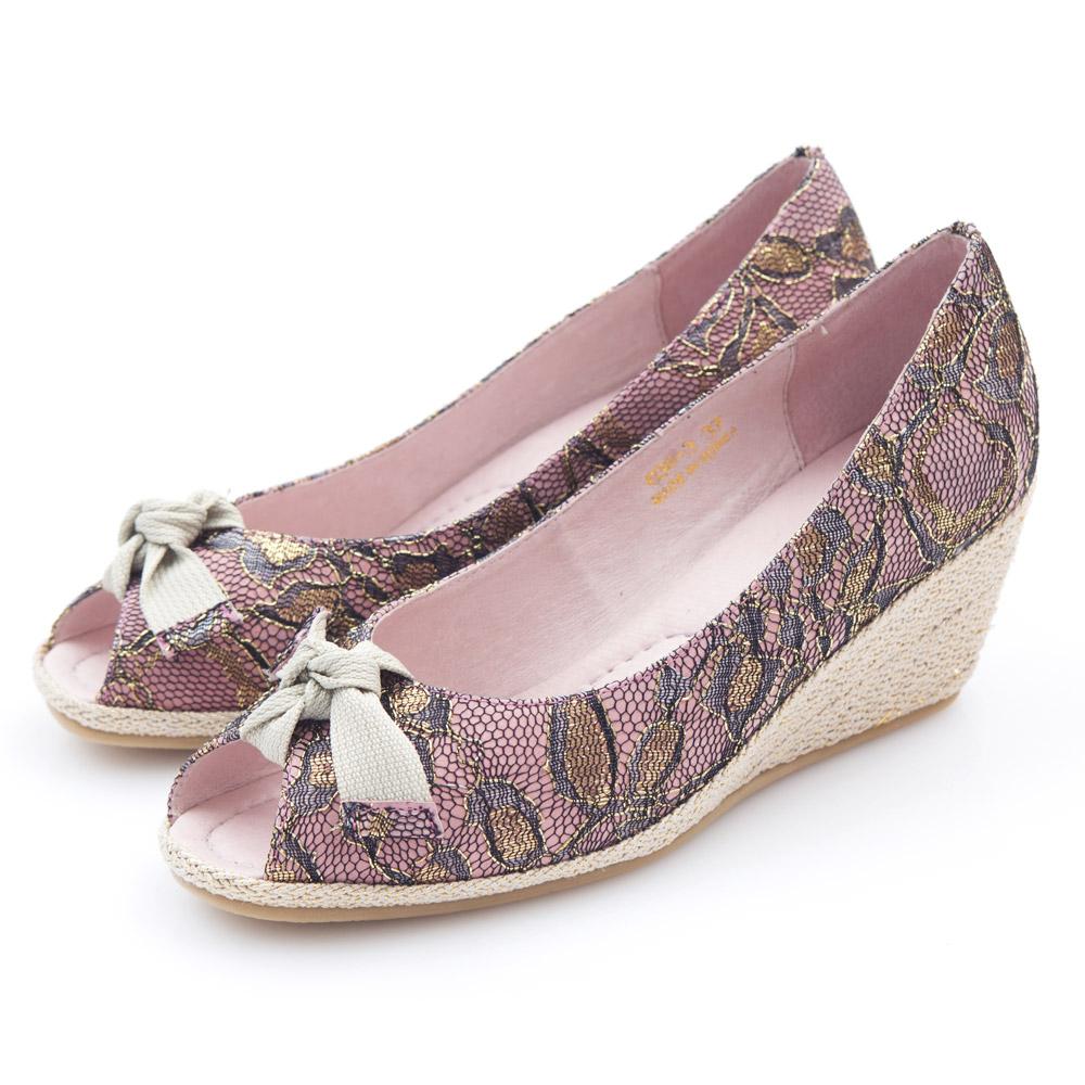 G.Ms. 魚口織帶蝴蝶結蕾絲金線花蔓楔型鞋-浪漫粉
