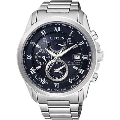 CITIZEN 光動能電波萬年曆腕錶(AT9080-57L)-深藍/43mm