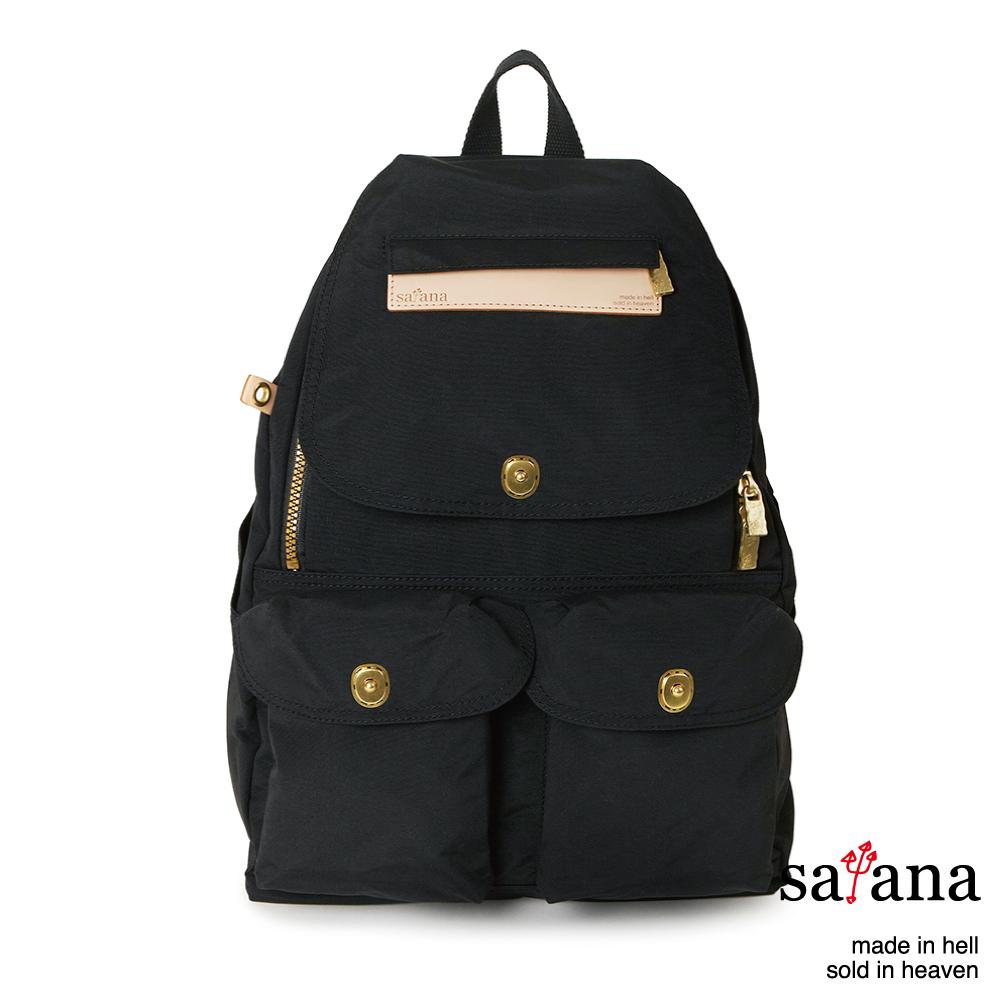 satana - 多功能拉鍊後背包 - 黑色