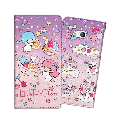 三麗鷗授權 KIKILALA 雙子星 HTC U11 甜心彩繪磁扣皮套(星星樂園...