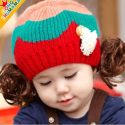 韓版秋冬卡哇伊假髮兒童造型帽