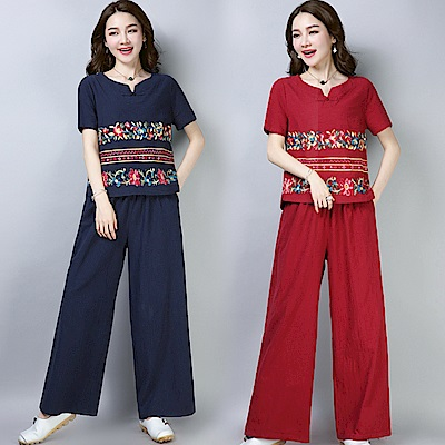 民族風刺繡兩件式套裝-共3色(M-2XL可選)     NUMI   森
