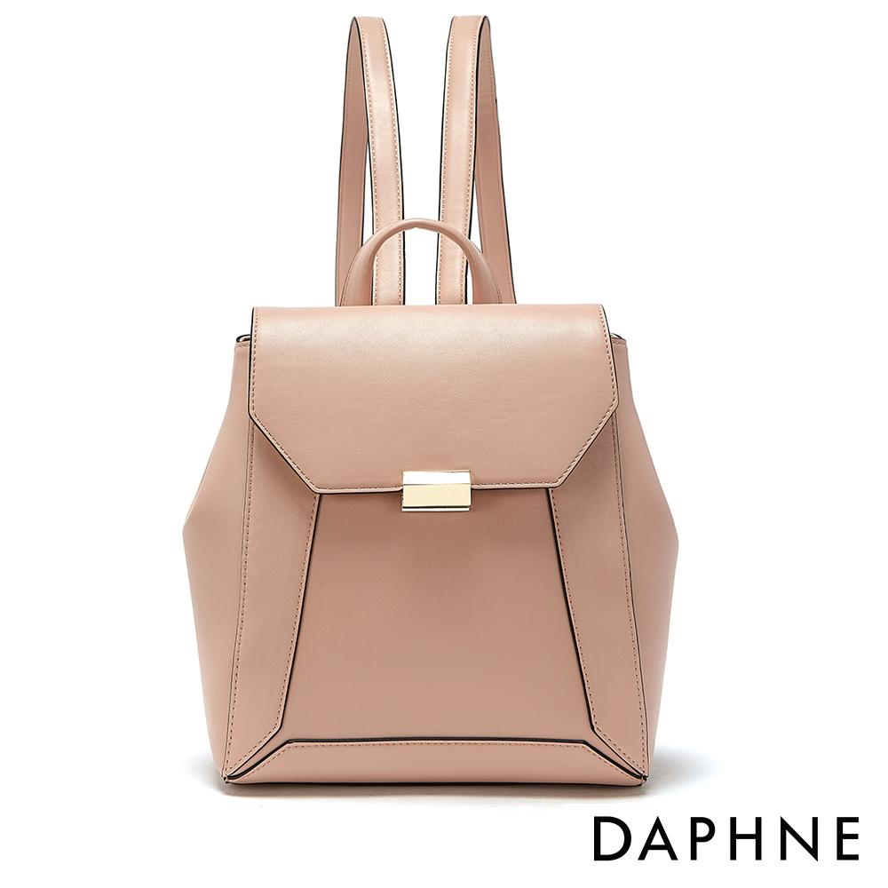 達芙妮DAPHNE-幾何拼接掀蓋式後背包-淺粉