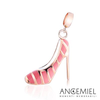 Angemiel安婕米串珠 925純銀吊飾 Dream童話系列 時髦高跟鞋(桃紅)