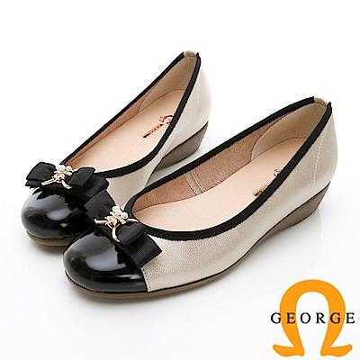 GEORGE 喬治-輕量系列 雙色蝴蝶結淑女鞋-金