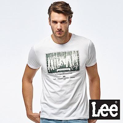 Lee 牛仔照片印刷短袖圓領TEE-男款-白