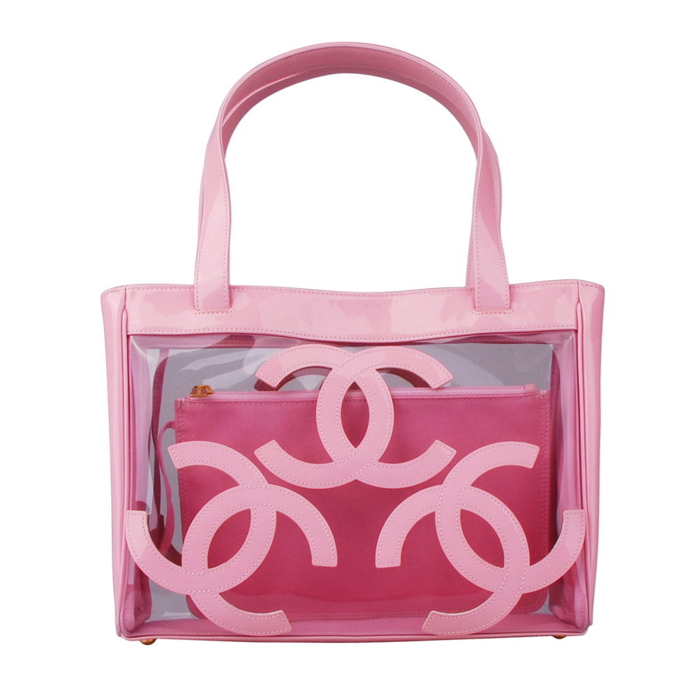 CHANEL 經典雙C LOGO透明漆皮手提包(粉紅)-展示品