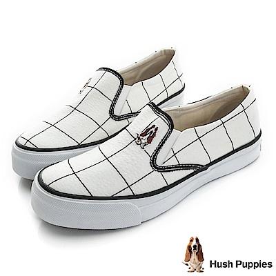 Hush Puppies 大方格咖啡紗中性懶人鞋-白色