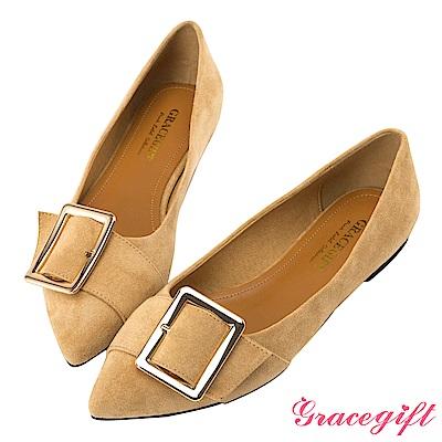 Grace gift-金屬方釦條帶尖頭平底鞋 杏