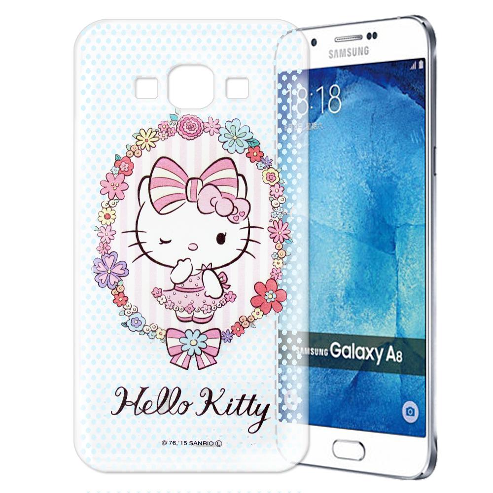 Hello Kitty Samsung Galaxy A8 透明軟式手機殼 花邊款