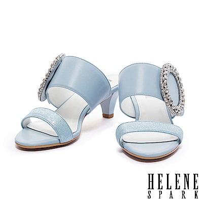拖鞋 HELENE SPARK 摩登華麗撞色雙字帶全真皮高跟拖鞋-藍