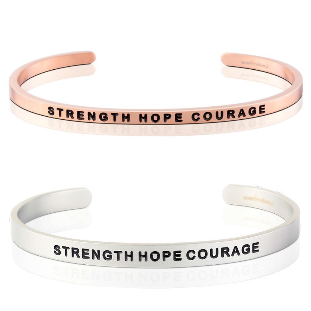 MANTRABAND Strength Hope Courage 力量希望勇氣霧銀X玫瑰金