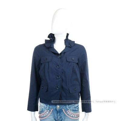MOSCHINO 深藍色領邊抓褶設計外套
