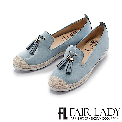 Fair Lady Soft Power軟實力 流蘇樂福休閒鞋 牛仔藍