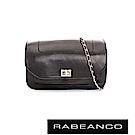 RABEANCO 迷時尚牛皮系列鍊帶雙層轉釦方包(大) - 鋼琴黑