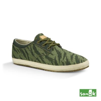 SANUK 綁帶迷彩休閒鞋-男款(草綠色)