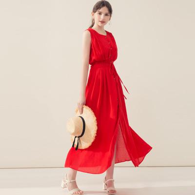 AIR SPACE 氣質排扣無袖長洋裝(紅)