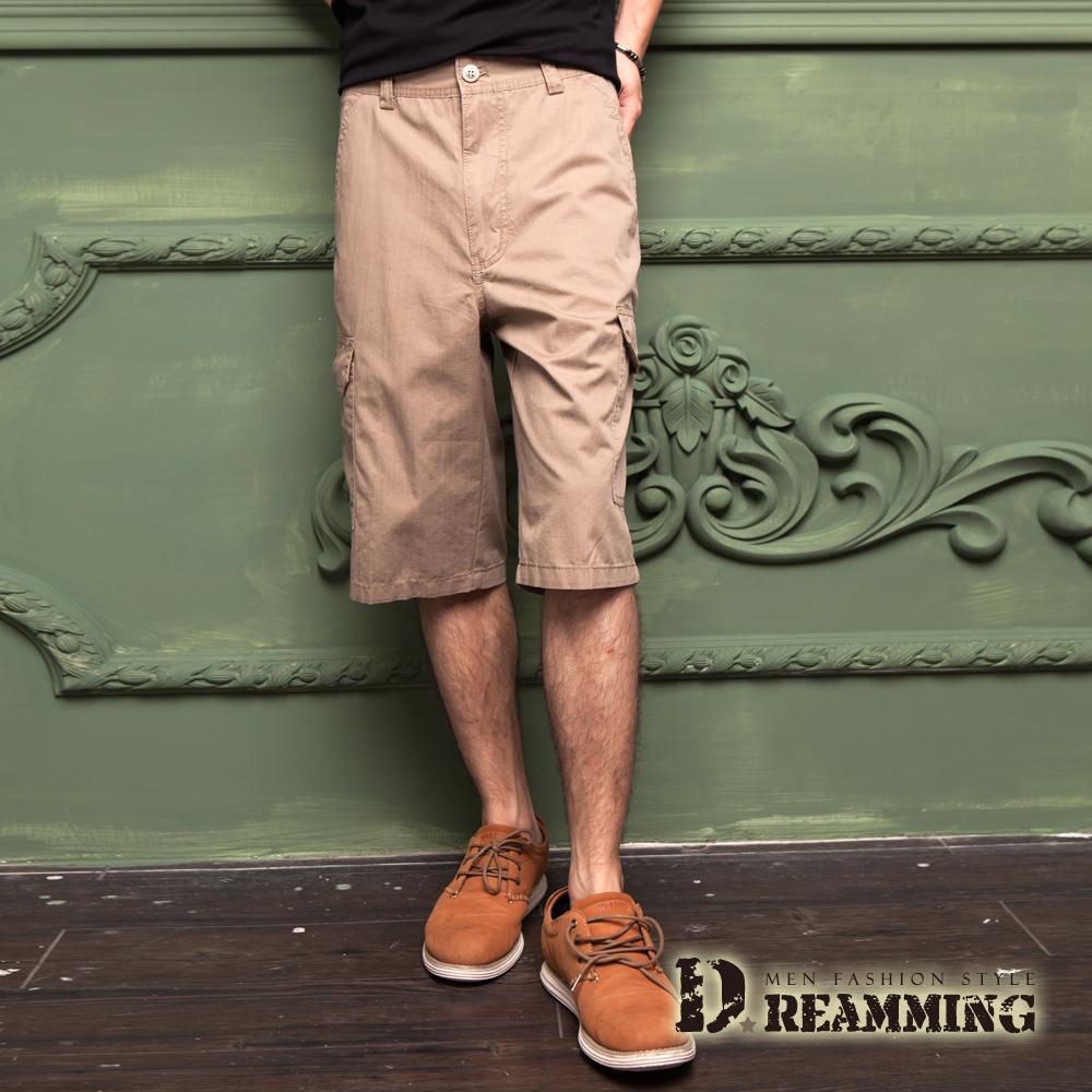 Dreamming 原宿輕薄透氣多口袋休閒七分短褲-卡其