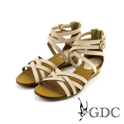 GDC-性感環繞雙扣帶後拉鍊真皮楔型厚底羅馬涼鞋-粉膚色