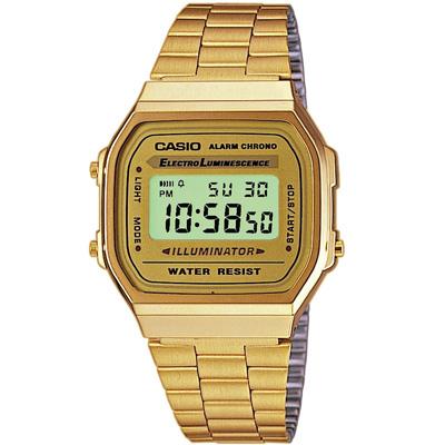 CASIO 城市光廊數位腕錶(A168WG-9)-金色版