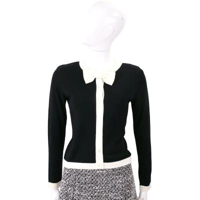 BOUTIQUE MOSCHINO 黑色蝴蝶領結羊毛針織小外套(53%WOOL)