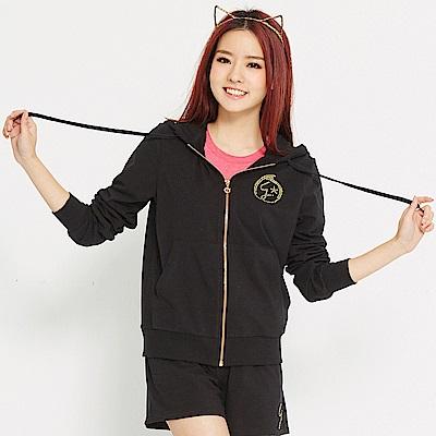 【 TOP GIRL】Girl 閃耀之星- 舒適棉感休閒針織連帽外套-黑
