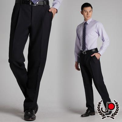 極品西服-正式簡約‧混紡羊毛雙褶西裝褲 丈青藍條(BS316-2)