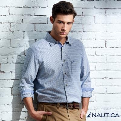 Nautica 簡約格紋長袖襯衫-藍