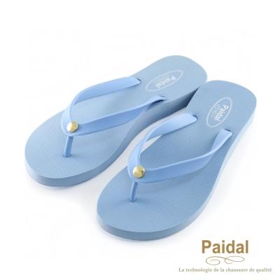 Paidal-素色女足弓款海灘拖鞋夾腳拖鞋-靛藍