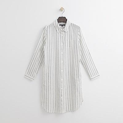 Hang Ten - 女裝 - 條紋休閒襯衫洋裝-白色