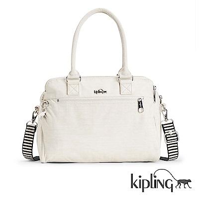 Kipling 手提包 條紋質感米白-大