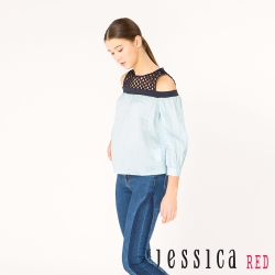 JESSICA RED - 氣質幾何簍空造型上衣(藍)