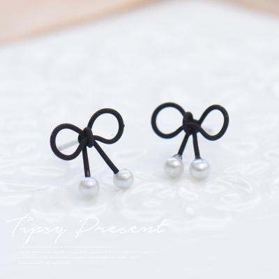 微醺禮物 珍珠 黑色立體蝴蝶結 耳環