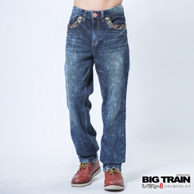 BIG TRAIN 達磨和柄直筒褲-男-深藍