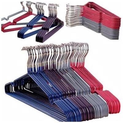 DF-不鏽鋼覆膜防滑衣架 凹槽設計不易生鏽50入(顏色隨機出貨)