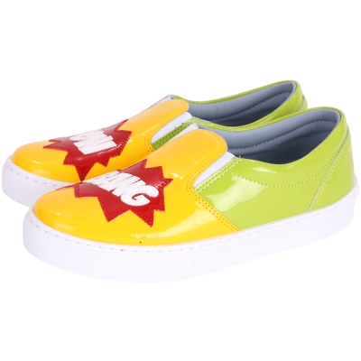 Chiara Ferragni Powbang 漆皮拼接厚底休閒鞋(黃x綠)
