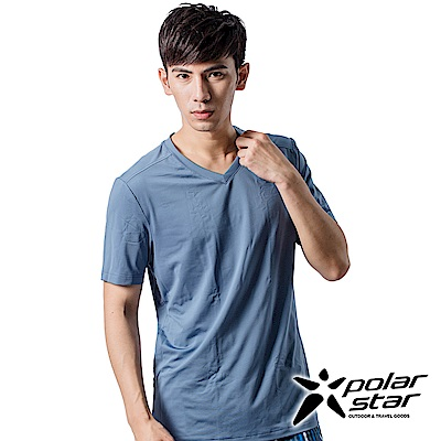 PolarStar 男 COOLMAX 排汗內衣 短袖T恤『灰藍』P9103