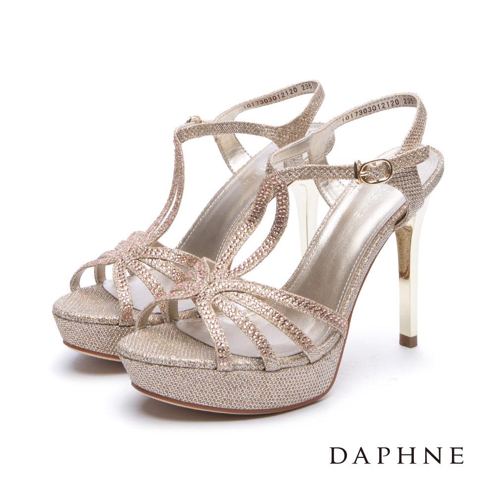 達芙妮DAPHNE 涼鞋-水鑽金蔥線條前高後高細跟涼鞋-金