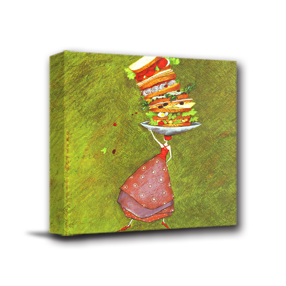 美學365 - 單聯式無框藝術掛畫時鐘 - 漢堡女孩40x40cm