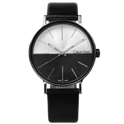 CK Boost 撞色拼接瑞士機芯防水皮革手錶 -銀黑色/41mm