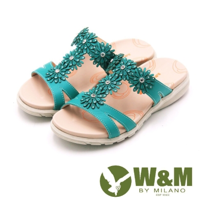 W&M FIT 花朵造型健走族健塑鞋 拖鞋 女鞋-綠(另有白、桃)