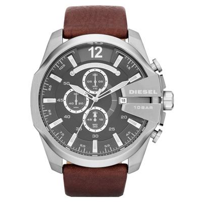 DIESEL 個性驚艷三眼運動腕錶-灰x咖啡/皮帶-52mm