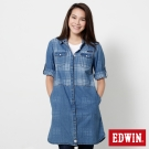 EDWIN 江戶勝 格紋長版牛仔襯衫-女-漂淺藍