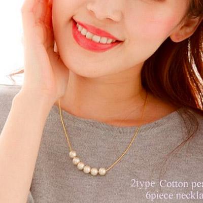 JewCas Cotton Pearl系列6mm棉珍珠6粒項鍊_JC2458-6