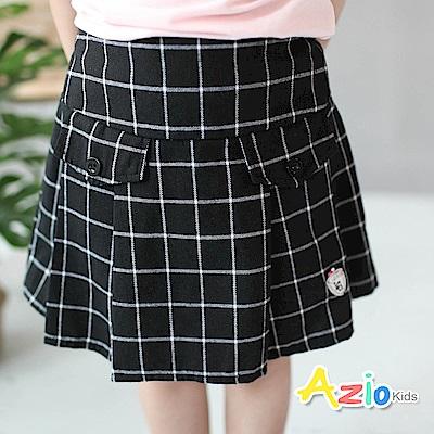 Azio Kids 童裝-褲裙 格線百褶鬆緊褲裙(黑)