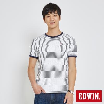 EDWIN 復古滾邊細條T恤-男-白色