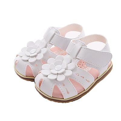 花朵魔鬼貼手工涼鞋 白 sk0365 魔法Baby