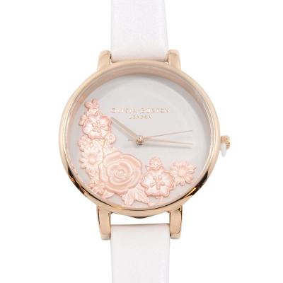 Olivia Burton 3D立體香花 白色真皮錶帶 玫瑰金錶框手錶-38mm