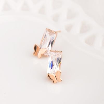 微醺禮物 奧地利水晶 鍍K金 長方水晶蝴蝶 耳環